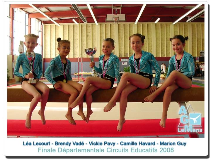 avant garde du mans gymnastique circuits educatifs 2008 ,marion guy, vickie pavy ,brendy vadé, camille havard, lea lecourt