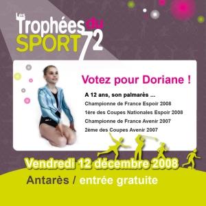 Doriane Thobie avant garde du mans club de gymnastique sélectionnée pour les trophées du sport 72